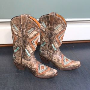 Corral Diamond Embroidered Western Heeled Cowgirl Boot Size 6
